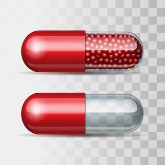 Pílulas vermelhas e transparentes.