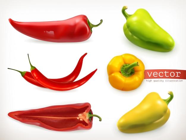 Pimenta. conjunto de ícones 3d vegetais