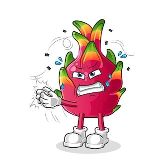 Pimenta golpeou o personagem da mosca. mascote dos desenhos animados