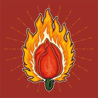 Pimenta habanero encarnado na ilustração de fogo