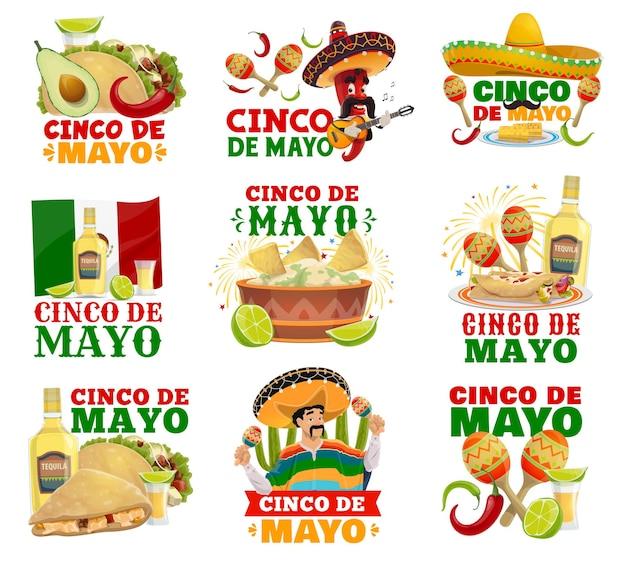 Pimenta malagueta e personagens de mariachi com bandeira do méxico