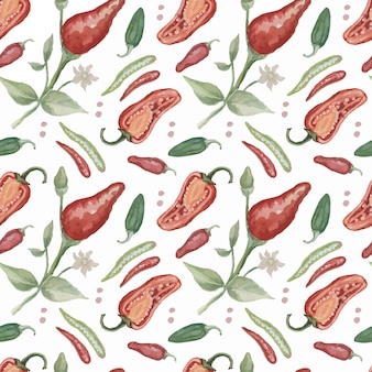 Pimenta pimenta especiarias aquarela mão ilustrações desenhadas patiern conjunto sem costura fundo comida picante