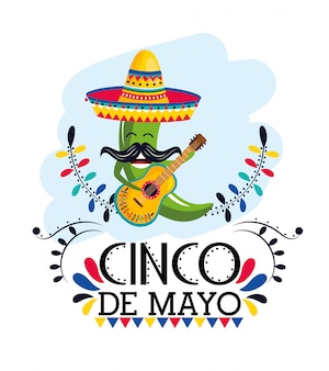 Pimenta verde com chapéu e guitarra para evento mexicano