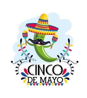 Pimenta verde com maracas e chapéu para evento mexicano