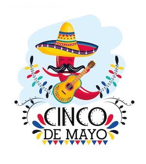 Pimenta vermelha com chapéu e guitarra para evento mexicano