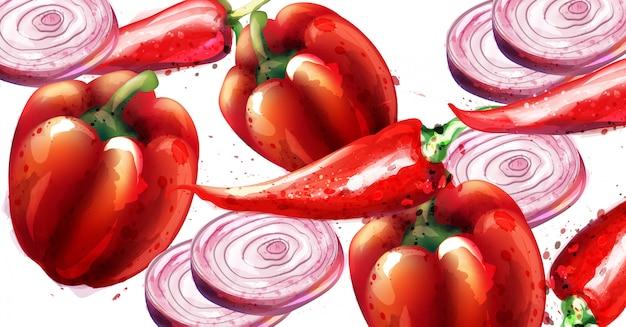 Pimenta vermelha e cebola
