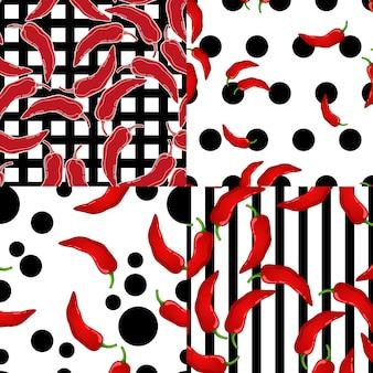 Pimenta vermelha em conjunto de padrão sem emenda de vetor de fundo de geometria. vegetais picantes do pimentão mexicano. textura de colorau quente.