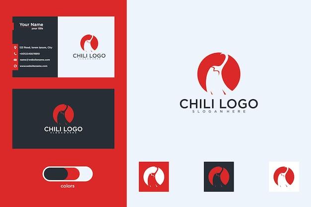 Pimentão com design de logotipo de círculo e cartão de visita