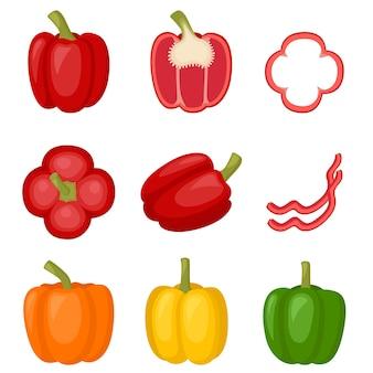 Pimentão doce vermelho, amarelo, laranja, pimentão. fatia de pimenta, corte meio páprica, ilustração vetorial