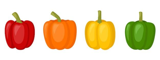 Pimentão doce vermelho, amarelo, laranja, pimentão, ilustração vetorial