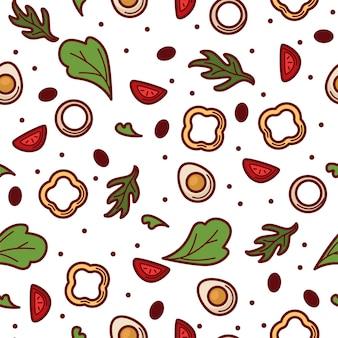 Pimentão ou fatias de páprica doce com ovos cozidos e verdura. mistura de verduras e ervas, cardápio para uma alimentação saudável e cuidados dietéticos. padrão sem emenda, plano de fundo ou impressão, vetor em estilo simples