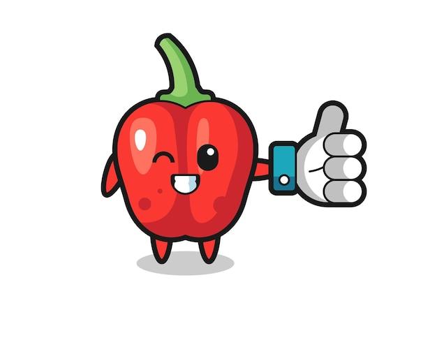 Pimentão vermelho fofo com símbolo de polegar para cima de mídia social, design de estilo fofo para camiseta, adesivo, elemento de logotipo