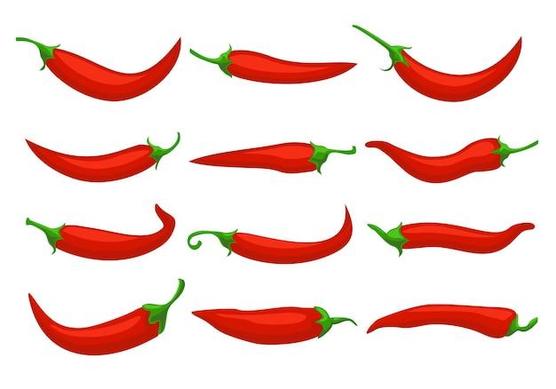 Pimentas vermelhas quentes closeup desenhos animados de pimenta fria pimenta mexicana ou pimenta ícones de pimentas