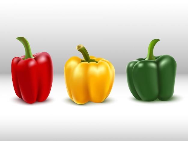 Pimentões em vermelho, amarelo e verde.