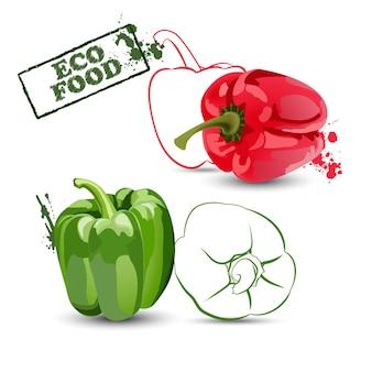 Pimentos coleção de pimentão vermelho e verde alimentos saudáveis e vegetarianos eco food vector