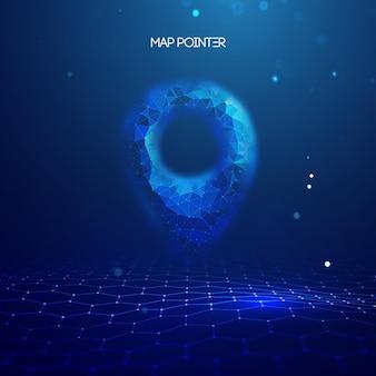Pin de localização gps. marca do mapa de geolocalização, localização do ponto. gps de tecnologia futurista em estilo 3d em fundo azul. ilustração em vetor 3d. conceito de viagens de vetor negócios futurista abstrato azul.