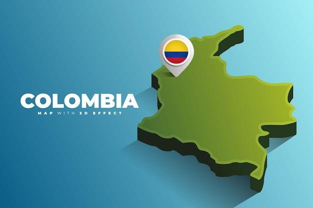 Pin de localização no mapa da colômbia