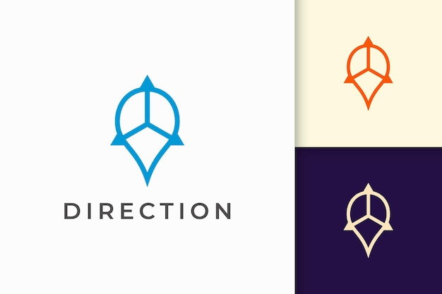 Pin logotipo ou marcador em linha simples e forma moderna representam mapa ou posição
