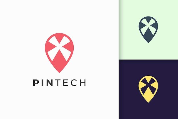 Pin logotipo ou marcador em linha simples e forma moderna representam tecnologia