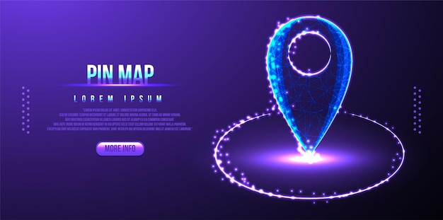 Pin map location low poly wireframe mesh