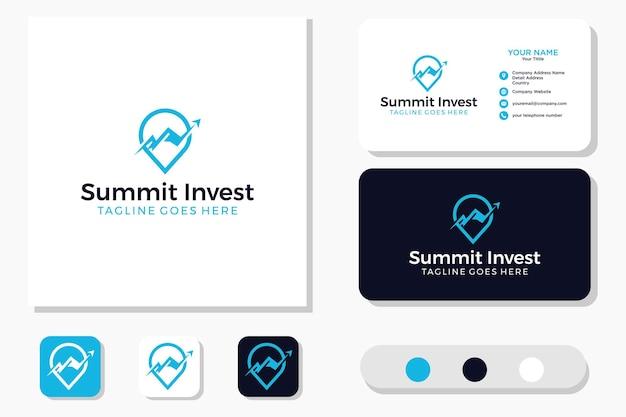 Pin mountain & marketing statistics arrow design de logotipo financeiro de negócios e cartão de visita