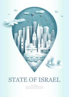 Pin point destino de viagem o estado de israel