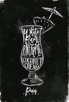 Pina colada cocktail com letras no estilo de lousa