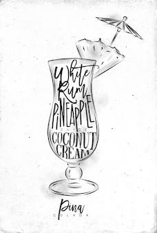 Pina colada cocktail com letras