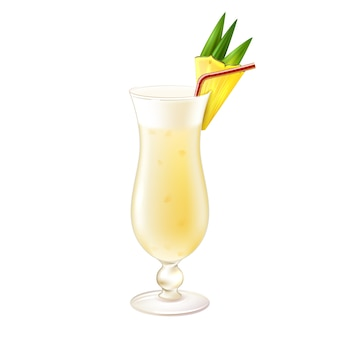 Pina colada cocktail realistic