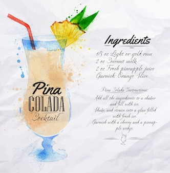 Pina colada cocktails aquarela