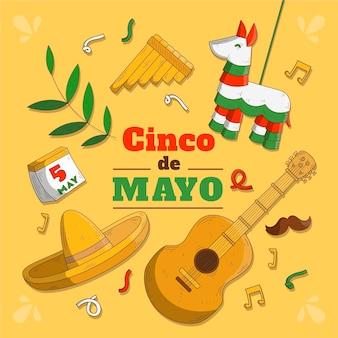 Pinata e guitarra de cinco de mayo de mão desenhada
