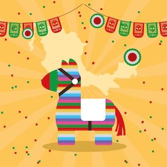 Pinata mexicana e guirlandas