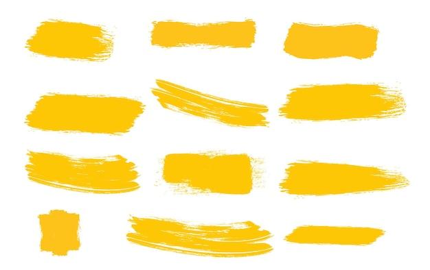 Pincéis amarelos tinta texturas pinceladas pincéis amarelos manchados