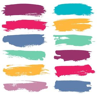Pincéis coloridos de grunge traços lineares de tinta aquarela para realçar