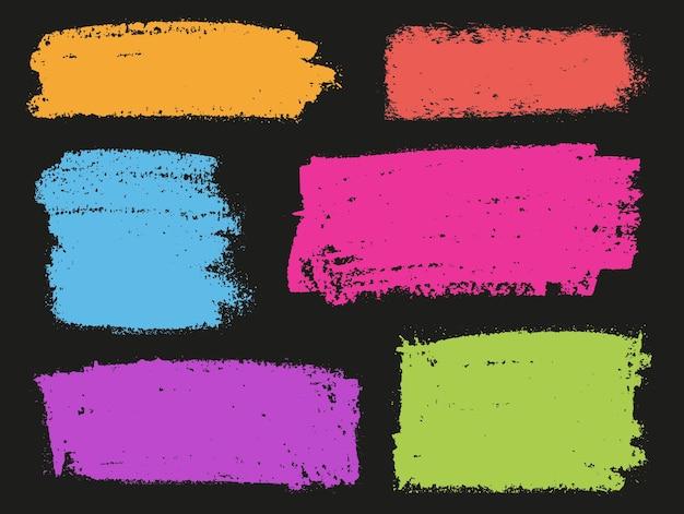 Pincéis de grunge pintados à mão em cores
