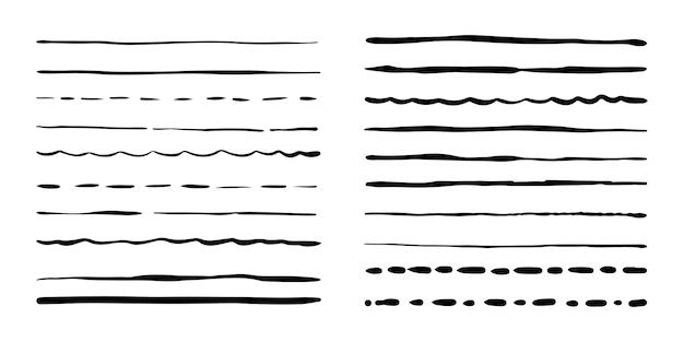 Pincéis de mão desenhada grunge. conjunto de pincéis de caneta artística isolado no fundo branco. ilustração vetorial.