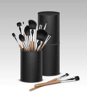 Pincéis de sombra de olhos para maquiagem profissional black clean pó blush