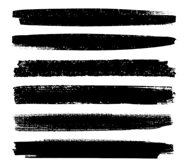 Pincéis de tinta grunge preto