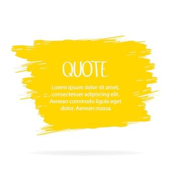 Pincel amarelo de vetor sobre um fundo claro. elemento de grunge de pintados à mão. projeto artístico de um local para texto, citações, informações, nomes de empresas. ilustração vetorial