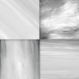 Pincel de acrílico preto e branco traçado texturizado conjunto de vetores de fundo