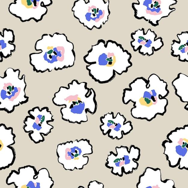 Pincel de caneta abstrata de vetor desenho simples e moderno motivo de ilustração de flores patten de repetição perfeita
