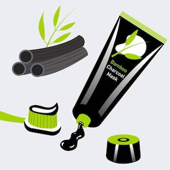 Pincel de pasta de dentes de carvão de bambu pacote de pasta de branqueamento