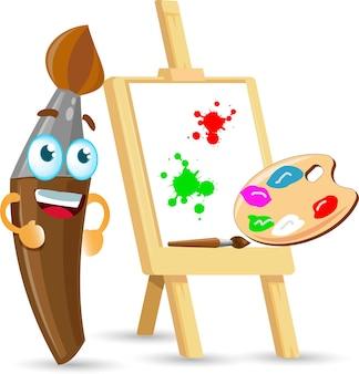 Pincel de pintura de artista fofo personagem do vetor kawaii dos desenhos animados