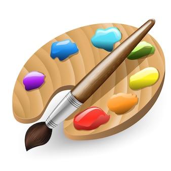 Pincel e palete de cores