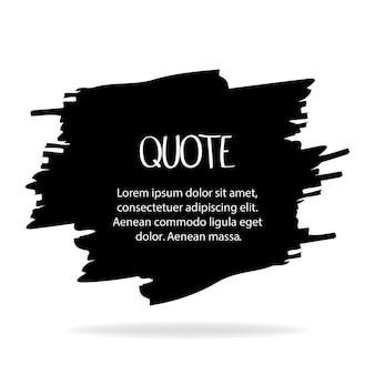 Pincel preto de vetor sobre um fundo claro. elemento de grunge de pintados à mão. projeto artístico de um local para texto, citações, informações, nomes de empresas. ilustração vetorial