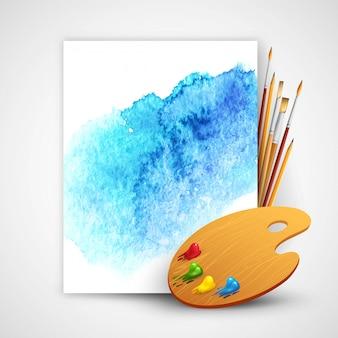 Pincel realista e paleta sobre fundo azul aquarela