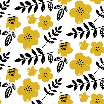 Pincel texturizado padrão de flores.