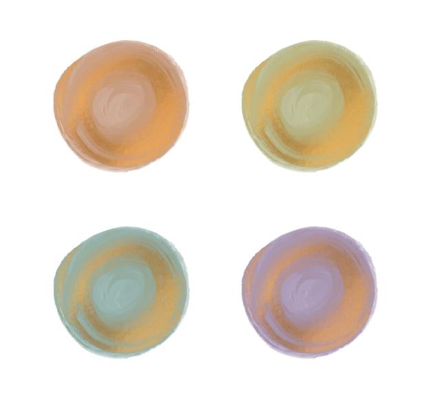 Pincelada de aquarela redonda com formas de textura de glitter dourado