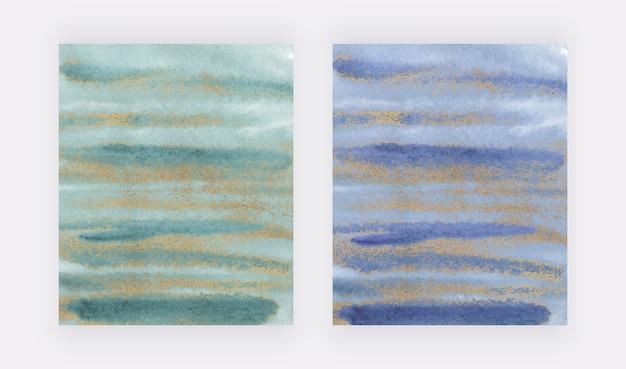 Pincelada de aquarela verde e azul com design de capa de textura de glitter dourado