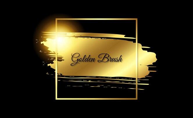 Pincelada de moldura dourada com brilho